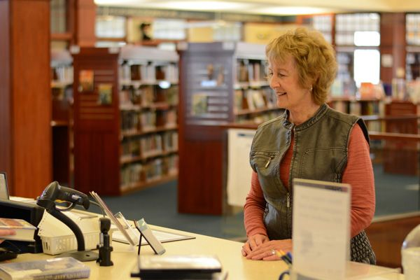 Patron at the circulation desk